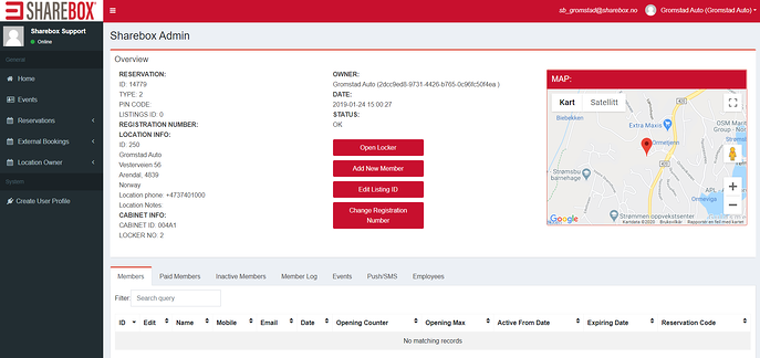 Gromstad Auto booking screen