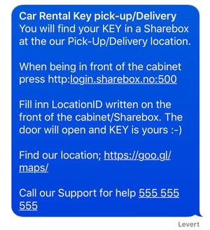 SMS to Car Rental Key Pick-up